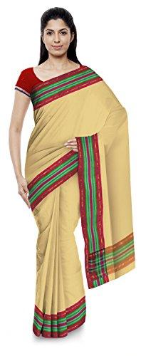 Kota Doria Sarees Women's Kota Doria Handloom Cotton Silk Saree With Blouse Piece (Beige)