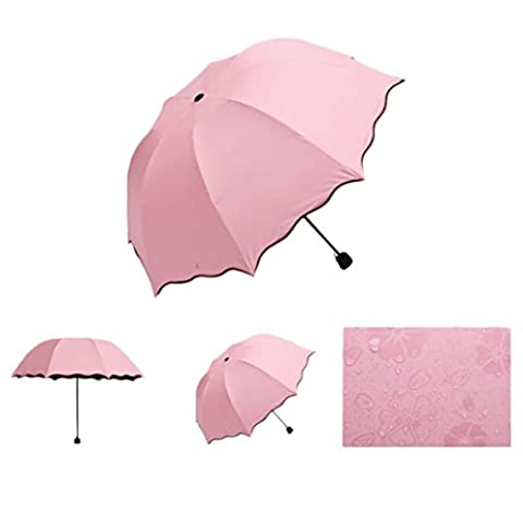 Umbrella,Fortan Lady Princess Magic Flowers Dome Parasol Sun/Rain Folding Umbrella (Light Pink)