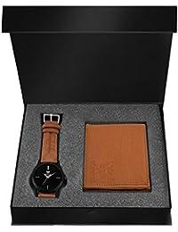 Lorenz Black Dial Men's Watch & TAN Wallet Combo- CM-1013WL-TAN