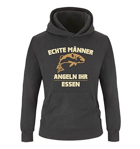 Comedy Shirts - Echte Männer Angeln Ihr Essen. - Jungen Hoodie - Schwarz/Hellbraun-Beige Gr. 116
