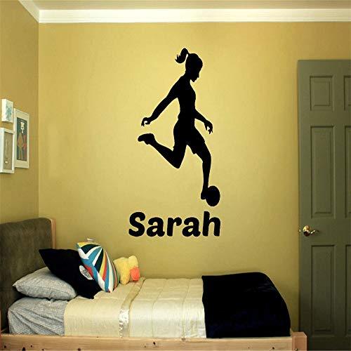wlwhaoo Fußball Spieler Mädchen personalisiert Sport Schlafzimmer Kinderzimmer Kinder Wand Dekor Aufkleber grau 81x114cm