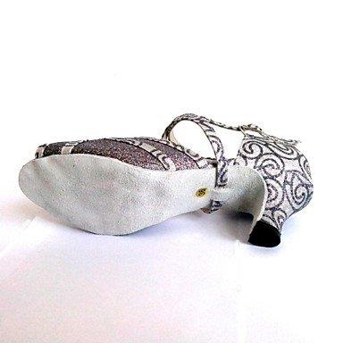 XIAMUO Latin anpassbare Damen Sandalen anpassbare Ferse funkelnden Glitter Schuhe Grau
