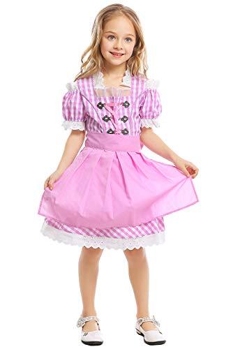 Kinder Mädchen Cosplay Kostüm Bierfest Kellnerin Uniform Trachtenkleid Dirndl Set kariert Mädchendirndl Rosa (Kellnerin Kostüm Kinder)