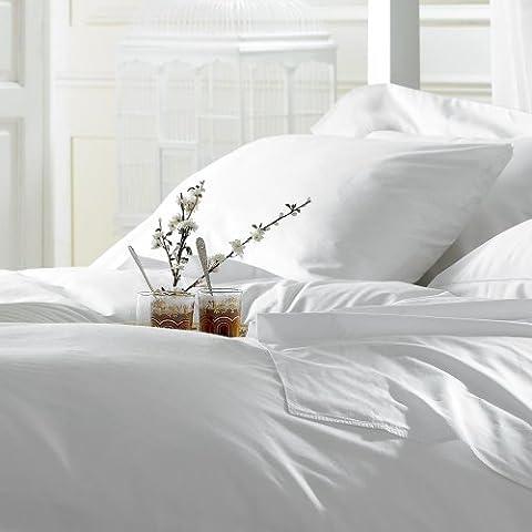 Weich und seidig Ägyptische Baumwolle Bettwäsche Set & Kissenbezüge 5Star Hotel Qualität, 200TC (Fadenzahl) Ägyptische Baumwolle Wunderschön verpackt & präsentiert, ägyptische Baumwolle, weiß, Einzelbett