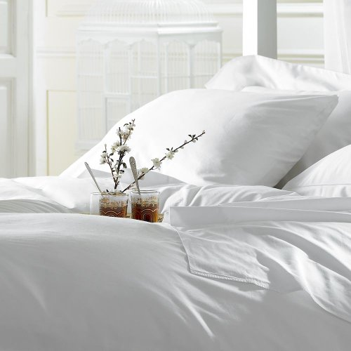 Bett- und Kissenbezugset aus weicher und seidiger ägyptische Baumwolle, 5-Sterne-Hotel-Qualität, 200TC (Fadenzahl), ägyptische Baumwolle, wunderschön verpackt und präsentiert, ägyptische Baumwolle, weiß, King Size