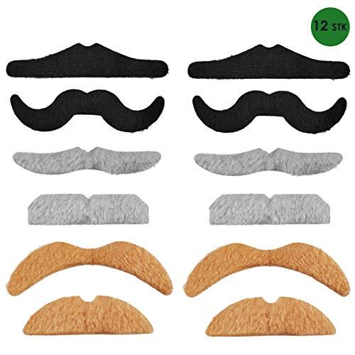 Balinco 12-teiliges Selbstklebende Schnurrbart Klebebärte als perfektes Accessoire für Damen und Herren Kostüme zum Karneval / Fasching