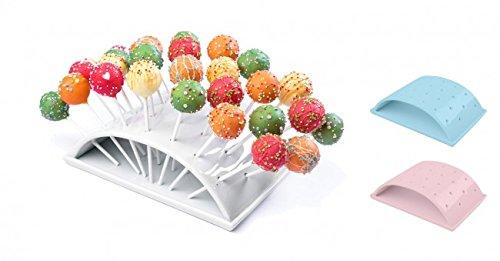 Bar-display-ständer (WELLGRO® Popcake Halter - Porzellan - Halter für 28 Pop Cake's - weiß, hellblau oder rosa - XXL Popcakeständer - Pop Cake - Servierständer - Cakepop, Farbe:Weiß)