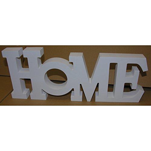 Schriftzug HOME weiss Holz Buchstaben Aufsteller Deko MDF 33x13 cm DEKO