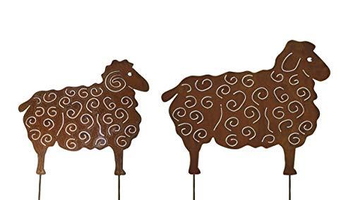 2er Set Schafe 56x70cm und 44x50cm Schaf Ziege Bock Widder Beetstecker Gartenstecker Edelrost Rost Metall Gartendekoration + Original Pflegeanleitung von Steinfigurenwelt