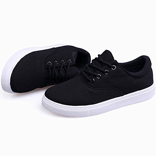 Oasap Women's Classical Lace Up Canvas Sneakers Black