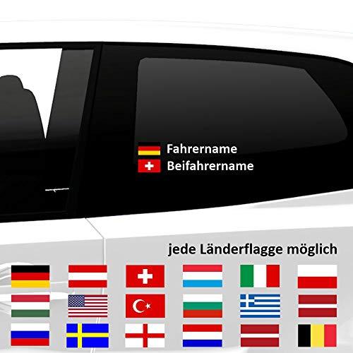 malango Fahrername und Beifahrername mit Länderflagge Flagge ALLE LÄNDERFLAGGEN ERHÄLTLICH