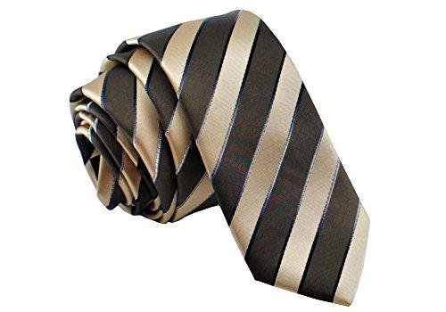 ADAMANT® Designer Krawatte, schmal, verschiedene Farben - TOPQUALITÄT - Moderne uni Krawatten für Business und Alltag - Braun Streifen (Anzüge Herren-designer)