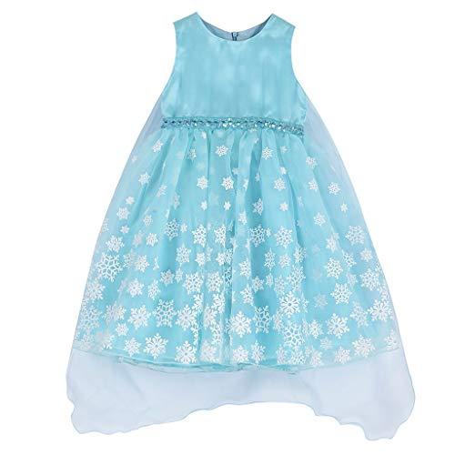 Allence Prinzessin Kostüm Kleid Kinder Mädchen Verkleidung Schick Party Kleider Halloween Karneval Cosplay Geburtstag Ankleiden Kleidung Blau