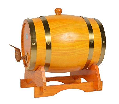 Mkuha Horizontal Holz Weinfass Spender Kiefer,Aluminiumfolie Liner(Gelb), 50L -