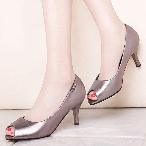 Damen Peep-Toe Pumps Slip On Stiletto Niedrige Strass Leder Bequeme Schuhe Silber