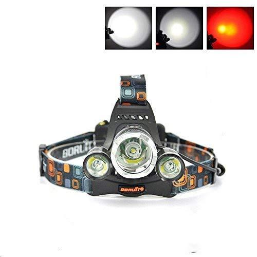 Huntvp® LED Stirnlampe Kopfleuchte RJ-3000 Scheinwerfer Sehrhell 1xT6 + 2xR5 5000LM Wiederaufladbar Kopflampe Headlight 3 Modi Wasserdicht Nachtsicht Tragbar Scheinwerfer Outdoor Reise Camping