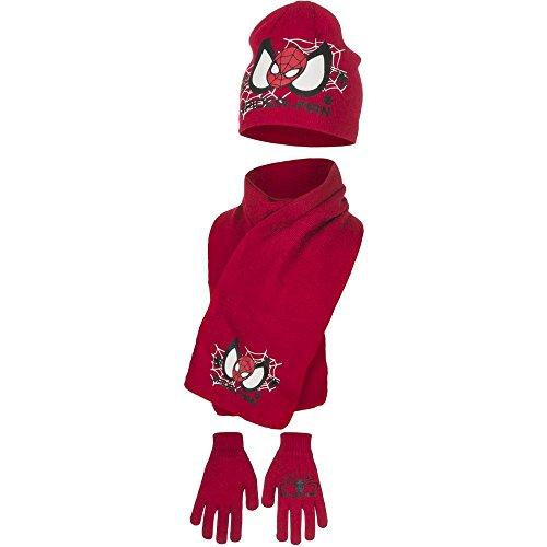 Spiderman Kinder Mütze, Schal und Handschuhe Set (54 cm Kopfumfang, rot)