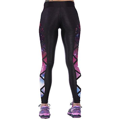 Jiayiqi Femme Séduisante Imprimé Graphique Extensible Sans Pied Legging Chic Collants Galaxie 3