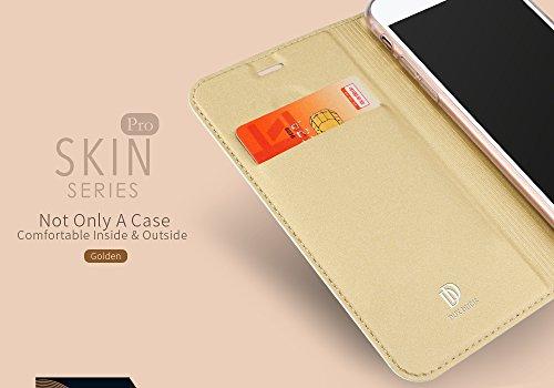 Flip Cover Case, Custodia a Libro Portafoglio Wallet Per iPhone 7 4.7, TPU Bumper Eco Pelle PU, Chiusura Magnetica a Calamita, Protezione Fronte Retro Anti Caduta DUX DUCIS (Oro)
