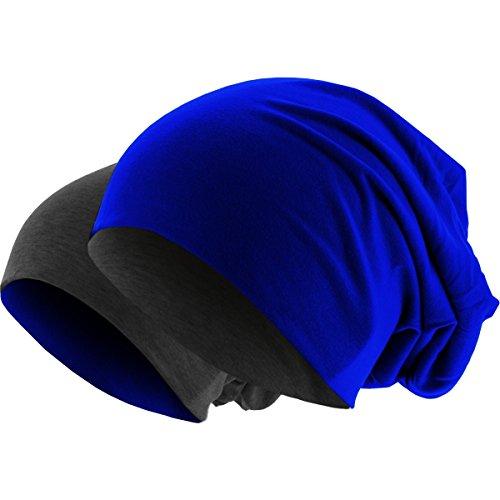 Hatstar Slouch Long Beanie 2in1 Reversible Jersey Mütze in 44 Farben (Dunkelgrau/Royal)