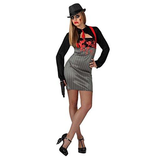 Mela Proibita - Kostüm Verkleidung Frau mafiosa sexy Gangster Halloween Karneval Kleid - grau, ml (Gangster Frau)