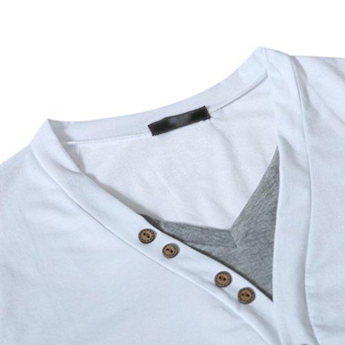 ZhiYuanAN Uomo Henley Shirt Disegno Del Collare Di Cucitura A Colori Magliette A Maniche Corte Casuale V-Collo Tee Tops Bianco