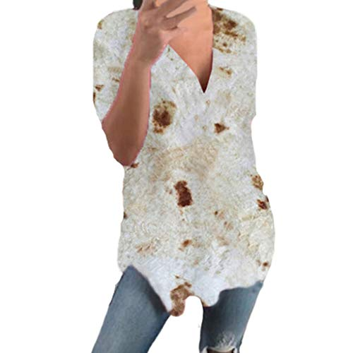CAOQAO 2019 Sommer Bestes Design Das Neueste Element Mode Damen Mexikanische Pfannkuchen Kurze ÄRmel Druckweste Sommer V-Ausschnitt T-Shirt(L,Gray)