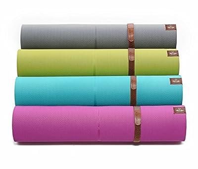 HEATHYOGA hochwertige Yogamatte mit Anti-Ruschbelag, Design Hilfslinien, licht, umweltfreundlich, langlebig, Maße: 183 cm Länge, Breite 65 cm, Höhe 0.6cm