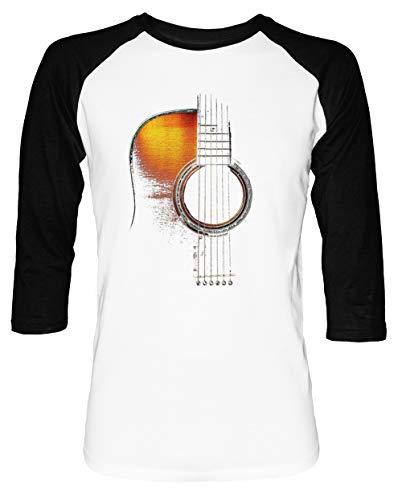 Farbe akustisch Gitarre Hallo-Lite Herren Damen Unisex Baseball T-Shirt Weiß Schwarz 2/3 Ärmel Women's Men's Unisex - Schwarz Akustische Gitarre Martin