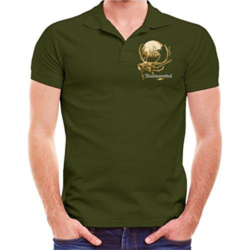 Männer und Herren POLO Shirt Kommt Zeit kommt Jagd (mit Rückendruck) Olive
