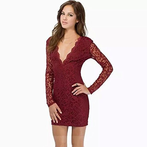 tonsee-femmes-sexy-manches-longues-col-en-v-dentelle-mini-robe-clubwear-l-rouge