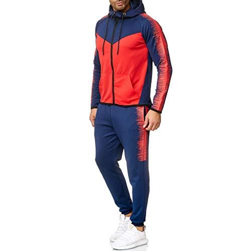 xmiral uomo giacche invernali manica lunga collo zip/pullover casual jogging palestra set sportiva felpa e pantaloni 2 pezzi tute (3xl,5- rosso)
