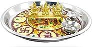 Ishvara Laxmi Ganesh Saraswati Idol with Free Puja thali (10 Inch) I Laxmi Ganesh Sarasvati Murti for Puja and