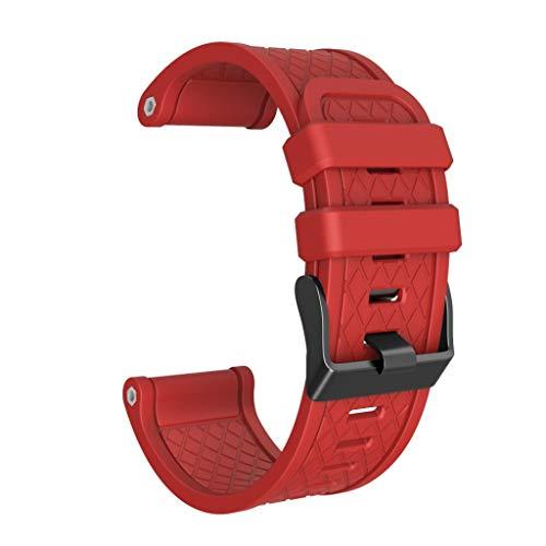 Knowin Uhrenarmband Silikon Gummi Wählen Sie Farbe und Breite Ersatzarmband Für Garmin Fenix/Fenix 2 Band Easy Fit 26 mm Breites, Weiches Plaid Silikonband (Gewöhnliche Schnalle) + Schraube