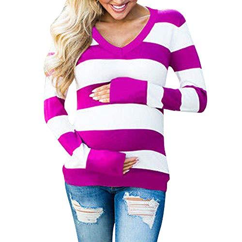 Beikoard Umstandskleidung,Frauen Gestreifter Pullover mit V-Ausschnitt für Schwangere Streifen bedrucktes T-Shirt unten Schwangere Bluse Sweatshirt