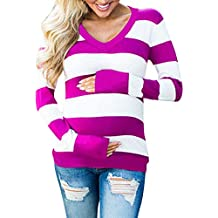 Maternidad Camiseta Mangas Largas para Mujer,Mujeres Maternidad Tira de Manga Larga Impresa Camiseta Blusa