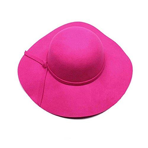 Yogogo Frauen Mädchen Wolle Wide Brim Felt Bowler Fedora-Hut Lady Floppy Cloche (Hot (Hüte Für Verkauf Fedora)