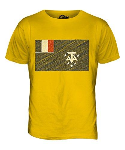 CandyMix Französische Süd- Und Antarktisgebiete Kritzelte Flagge Herren T Shirt Dunkelgelb