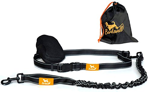 Hands Free Dog Lead for Running / Premium Quality Dog Walking Belt by Barkswell – Bungee Lead, Reflective with Double…