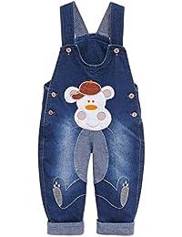 Pantalones Vaquero De Peto Para Bebé Niños Niñas Azul Largo Con Patrón de Gorila Overall Mono