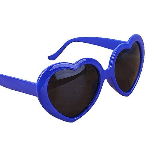 Everyday Fashion Herren Damen Summer Funny Love Herz Form Sonnenbrille Sonne Brille Geschenk, plastik, blau, Einheitsgröße