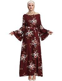 635a4be071cc LANSKRLSP Vestito da Donna Gonna Lunga Abito Stampato Floreale Abiti Manica  Lunga Musulmano Islamico Arabo Primavera