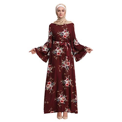 Ginli Vestiti Musulmani Musulmano Maxi Dress Tromba Manica Abaya Long Skirt Robe Gowns Tunica Abito da Donna con Maniche A Tromba in Pizzo Musulmano