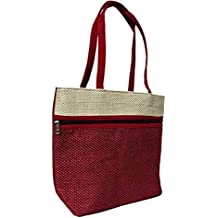 Women's Trendy Jute Handbag - Rich Attractive Red Colour