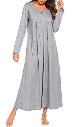 Skione Schlafkleid Nachthemden Schwangere Nachtwäsche Stillnachthemd Damen Lang arm Winter Herbst warm Umstandskleid Pyjama Grau XL