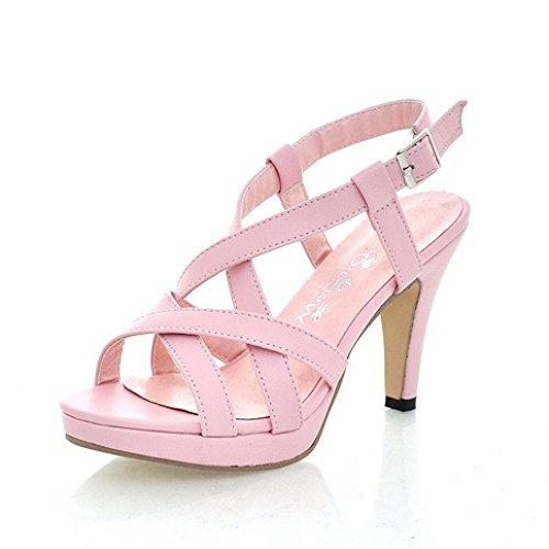 Frauen Stiletto High Heel Sandaletten Peep Toe Riemchen Plattform Slingback Roman Schuhe Abend Party Prom Sandalen,Pink-EU39=245 (Slingback Stiletto Prom Schuhe Heel)