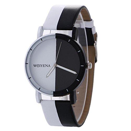 Armbanduhr Uhr Xinnantime Neutrales Schwarz Weiß Muster Mode Leder Analoge Quarz Damenuhr Frauen 5 Farbe (Standard, E)