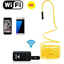 attopro rígido WiFi Wireless endoscopio, boroscopio inspección serpiente cámara semirrígido con 2megapíxeles 720P HD 6ajustable LED luces para iOS Android iPhone Samsung teléfono, ipad Pro–amarillo (16.4ft/5M)