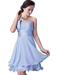 FASHION PLAZA mit einem eleganten Schulterträger und einer prägtiger softer Gürtel festlich Abendkleid Ballkleider Modul D068