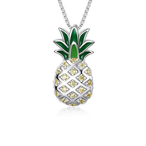 Sterling Silber Ananas Anhänger Halskette Schmuck Geschenk für Frauen Teens Mädchen - Frauen Frucht